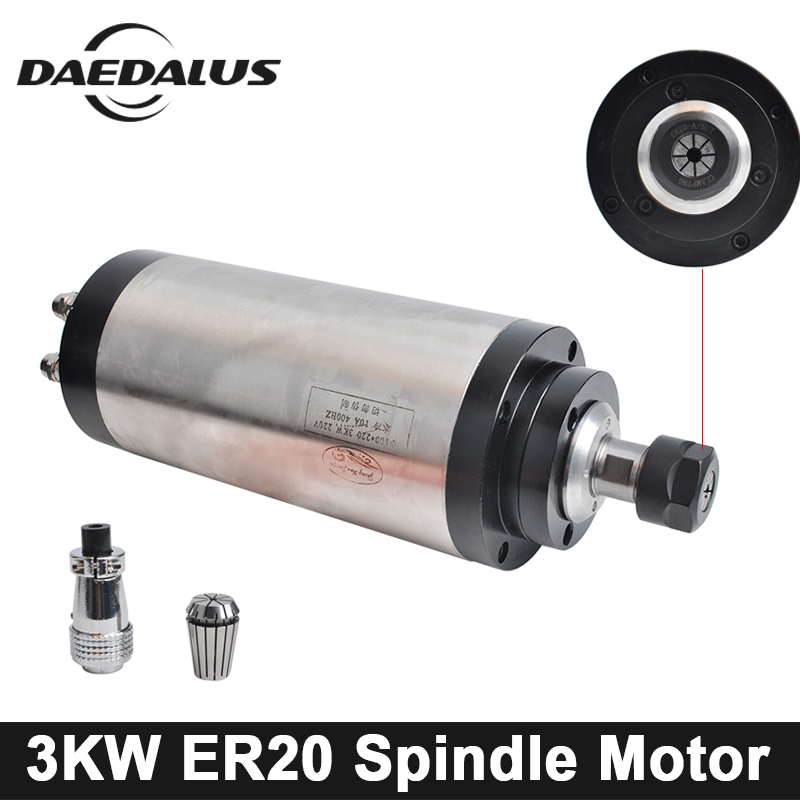 CNC 3KW 100MM Spindle Motor ER20 Collet Chuck 220V/380V Water Cooled Spindle Motor 4pcs Bearings For Engraver Milling Machine water cooling spindle gdz 100 3 3kw cnc spindle motor gdz 100 3 3kw diameter 100mm er20 380v 12a