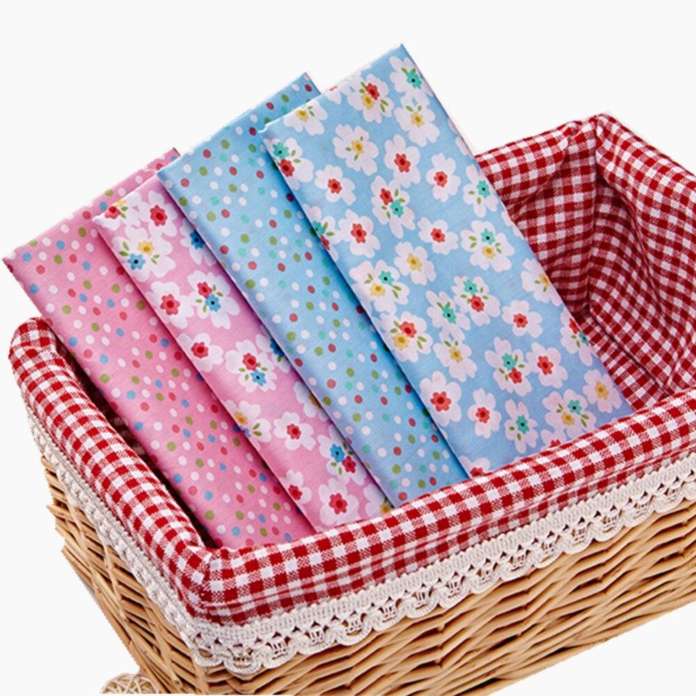 4pcs / Lot 40 * 50cm roz albastru Floral Seria 100% bumbac tesatura de țesături patchwork Bundle țesătură tilda pentru cusut Diy stofa