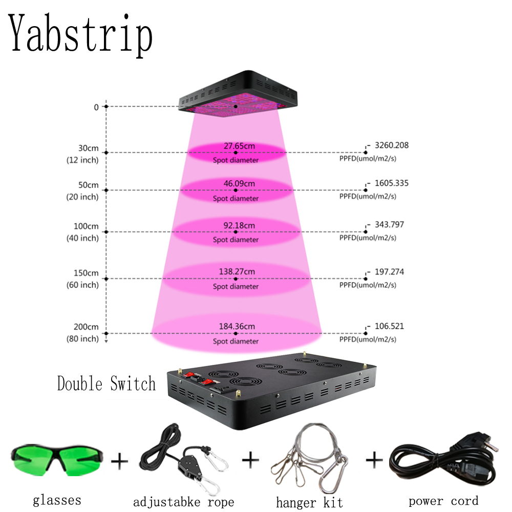 Yabstrip 1800W double switch full Spectrum LED plant grow light phyto lamp fitolampy for Indoor seeding flower Veg Bloom mode in LED Grow Lights from Lights Lighting