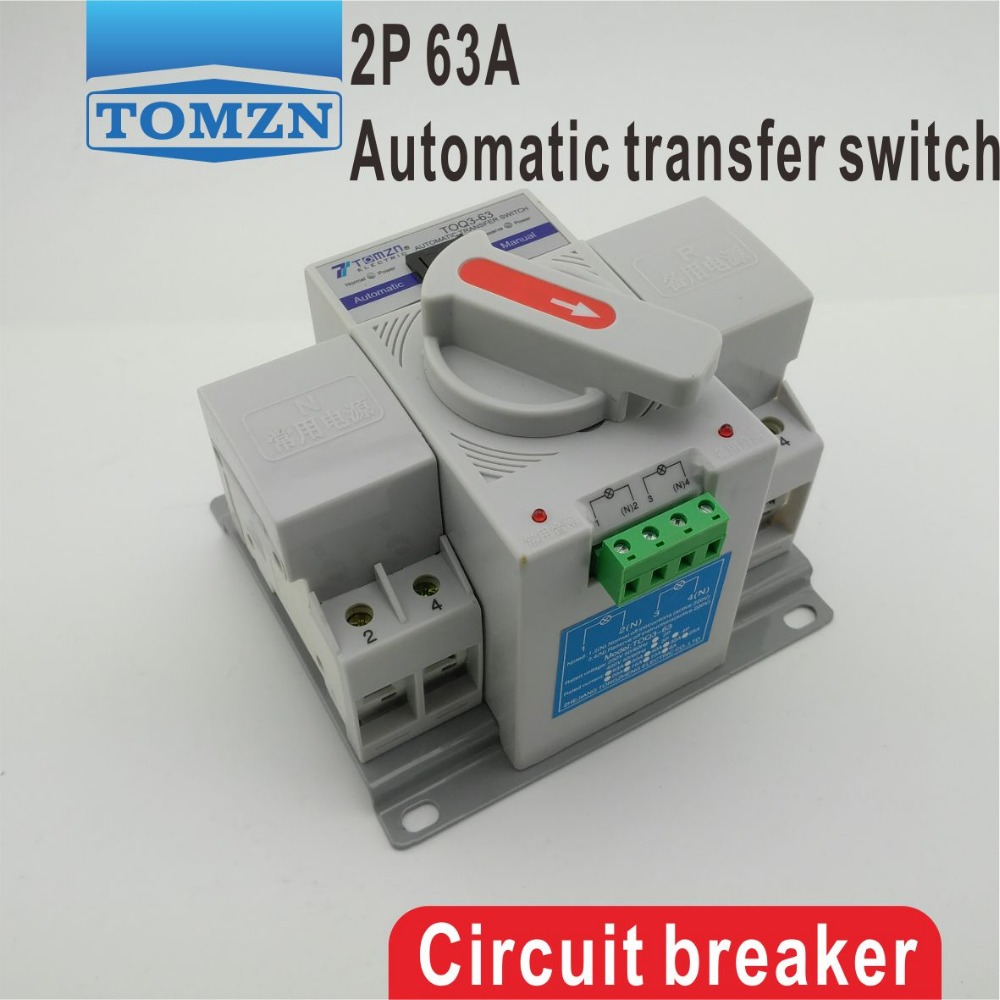 2P 63A 230V MCB type Dual Power Automatic transfer switch ATS 63a 2p mcb type dual power automatic transfer switch household ats bipolar single phase 220 v