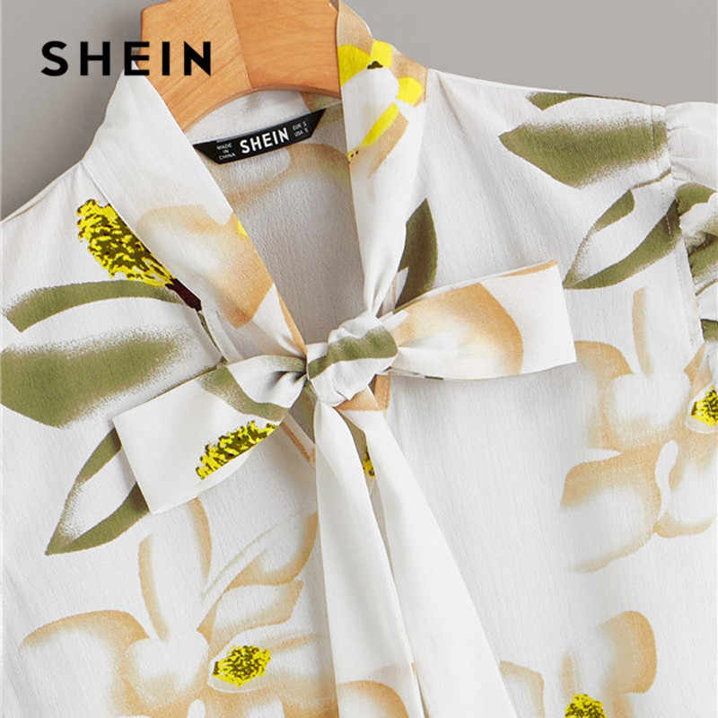SHEIN Tie Neck Ruffle Armhole Floral Womens Tops And Blouses Summer Casual Sleeveless Stand Collar White Blouse Office Lady Tops