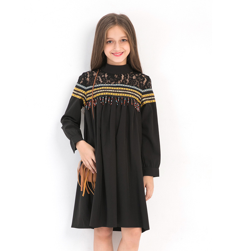 Elegant Teens Girls Lace dress Big Girls Openwork eveving party Tassel Dresses Kids Costume Children clothing 5 8 10 12 14 years платье echo echo ec006ewzgl77