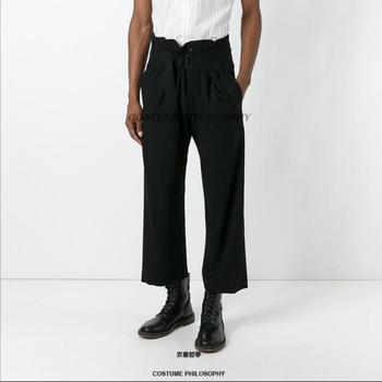 27-44 Original 2020 New Men's Clothing Fashion Casual Black Nine Points Pants Tide Straight Plus Size Singer Costumes