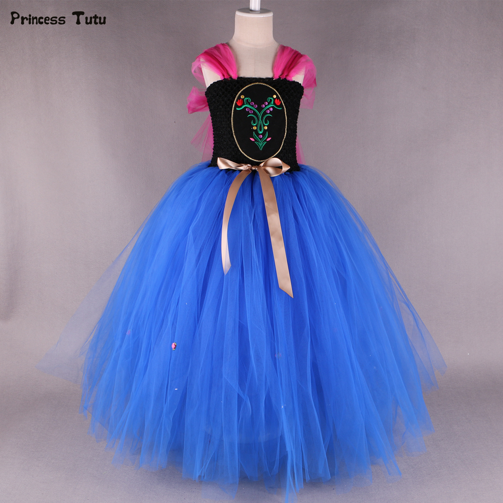 Princess Anna Tutu Dresses For Girls Birthday Party Ball Gown Dress Blue Kids Girls Christmas Halloween Cosplay Costume Dress