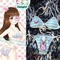 Lindo OW Juego D. Va de Conejo Conejito Cola Azul y Blanco A Rayas Lolita Bikini Halter Bra & Panties Set Única Ropa Interior de Algodón de Las Mujeres