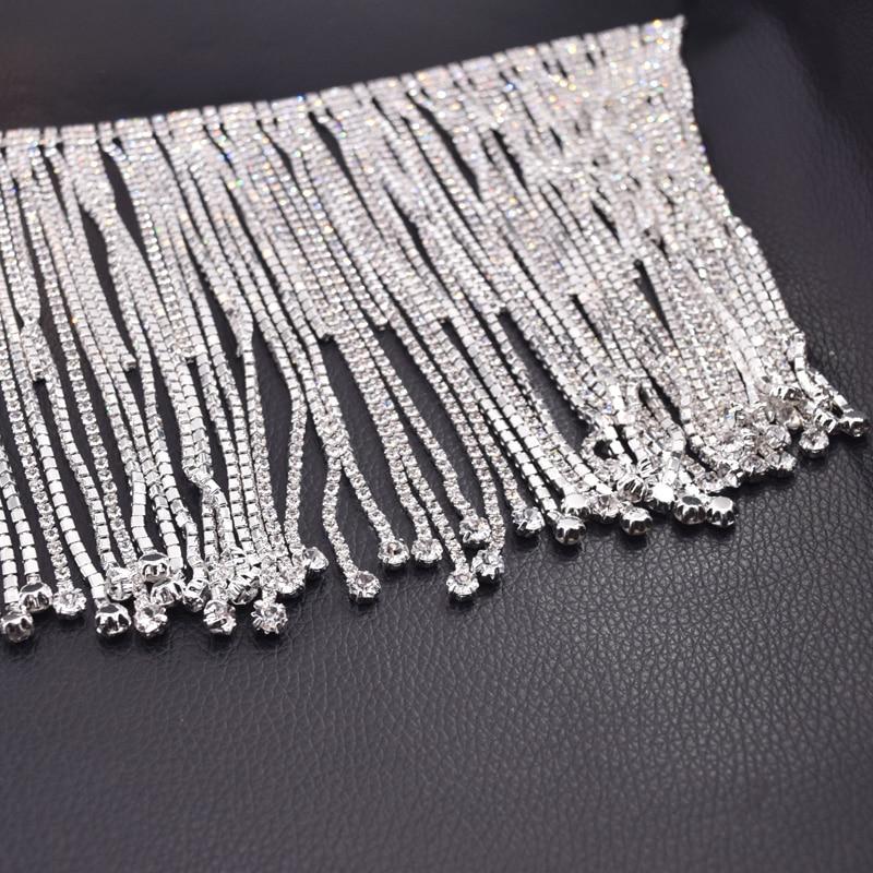 10 yards longue frange cristal strass bordure en appliqué gland strass patchs passementerie pour robe de mariée vêtements appliques-in Strass from Maison & Animalerie    2