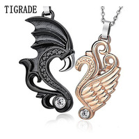 Romantic Stainless Steel Rose Gold And Black Angel Wing Couple Pendant Necklace
