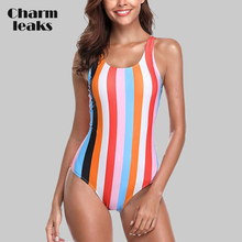 Charmleaks Women One Piece Swimwear Striped Colorblock Swimsuit Monokini Backless Bathing Suit Bikini