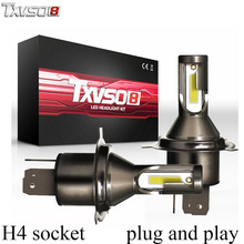TXVSO8 2PCS LED H4 Car Headlight Bulbs Kit Flip COB Chips 26000Lm 6000K Led Headlight Bulb 55W/Bulb Automobiles Front Headlamp p6 philips chips 55w 4500lm led car headlight car headbulb