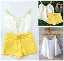 UK STOCK Toddler Kids Girl Summer Chiffon Sleeveless White Tops Shirt+Yellow Shorts Outfits Set Clothes цена в Москве и Питере