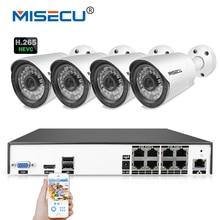 MISECU H.265/H.264 48 V 8 Canales POE IEE802.3af 4.0MP 4 K de Vigilancia POE CCTV Sistema Hi3516D OV4689 P2P HDMI Metal 36 unid IR cctv