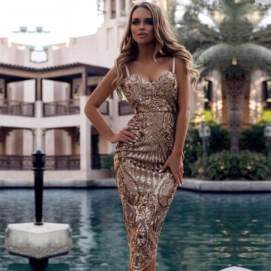 Seamyla New Bodycon Sexy Summer Dress Vestidos Luxury Sequined Dresses Women Spaghetti Strap Night Out Club