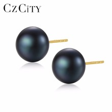 CZCITY 18k Pearl Stud Earrings 7 7 5mm Natural Freshwater Pearl Pure 18k Yellow font b