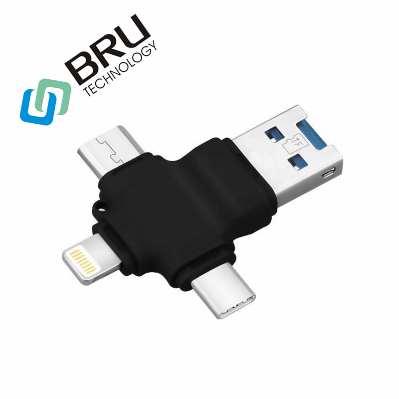 BRU 16G32G64G128G 128 MB USB Flash Drive para iPhone5s/6 S/6 Plus/7 S/7 plus/8X/iPad/Android leitor de cartão memory stick pendrive TYPE-C