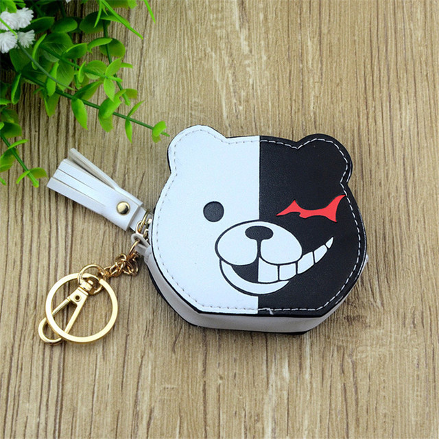Boys Girls Cartoon Anime Danganronpa Black White Bear Designer Coin Purse PU Bag With Key Chain