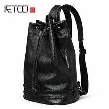 AETOO Shoulder bag male font b leather b font font b backpack b font litchi furrow