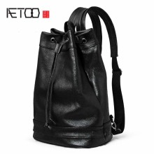 AETOO Shoulder bag male leather backpack litchi furrow layer leather leisure computer bag men and women tide package travel bag