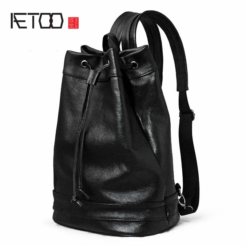 AETOO Shoulder bag male leather backpack litchi furrow layer leather leisure computer bag men and women tide package travel bag new tide package suede women bohemian wind retro backpack pu chain men and women lovers tassel bag