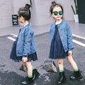 Детская одежда 2017 весной и осенью девочка джинсовой верхняя одежда девушки куртка мода верхняя одежда