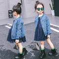 Children's clothing 2017 spring and autumn female child denim outerwear girls jacket fashion outerwear