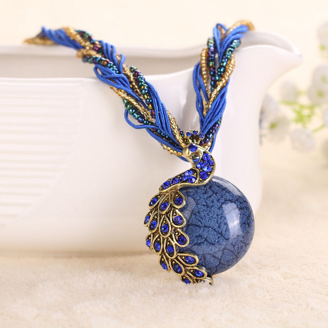 Marble Stone Jewelry : Aliexpress buy peacock necklace natural stone thick