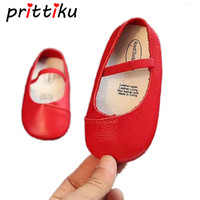 2017 New Autumn Baby Girls Anti Slip Rubber Sole Prewalker Toddler Solid Cow Leather Shoes