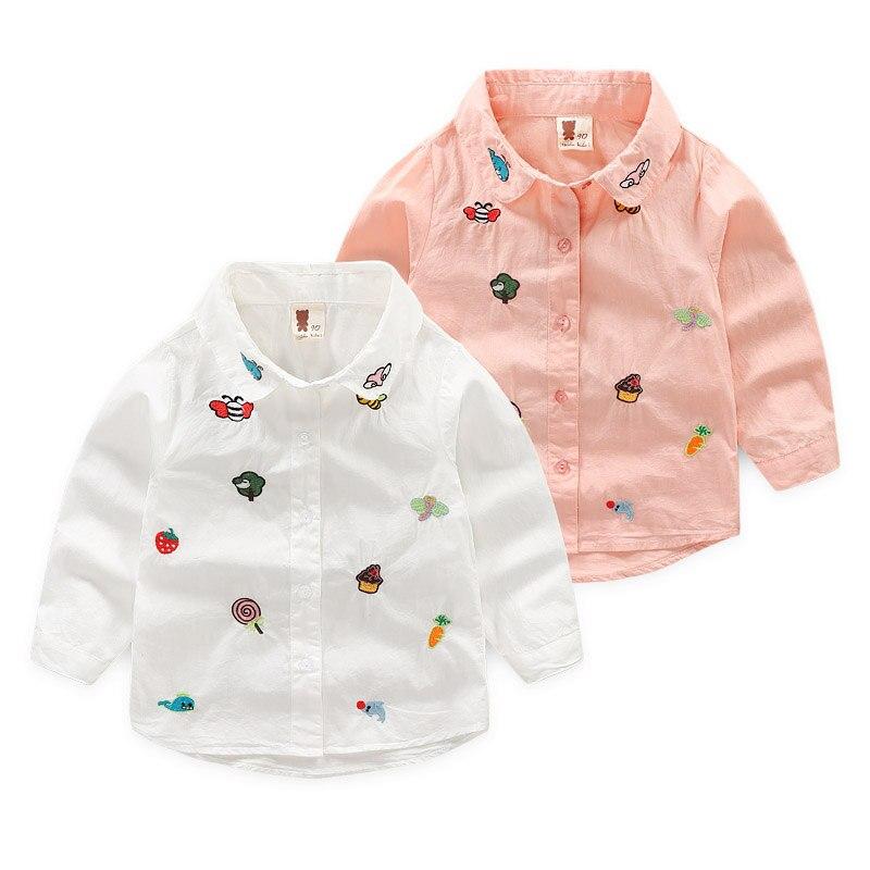 2-10y Jungen Und Mädchen Stickerei Shirts Chemises De Filles Langarm Kinder Kleidung Bouses Vetements De Garçons