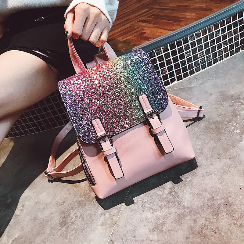 Miyahouse PU Leather Women Backpack Female Fashion Sequins School Bags Teenage Girls Korean Style Shoulder Bookpack Travel Bags miyahouse new fashion pu leather backpack women school bags for teenagers girls travel backpack female high quality shoulder bag