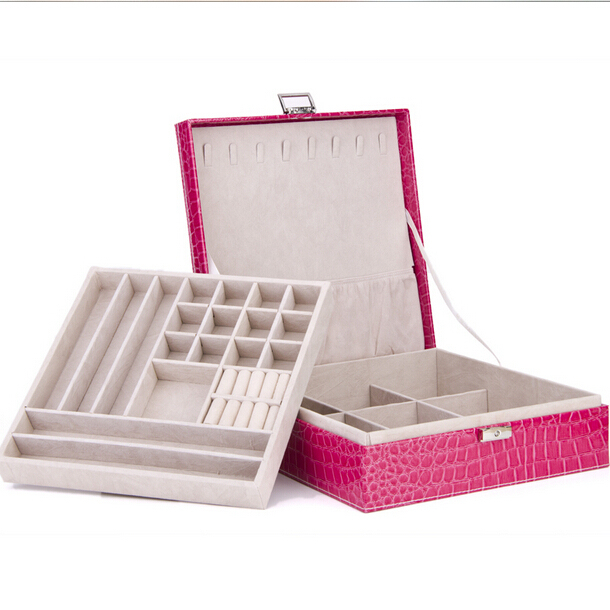 1pc 26*26*9cm  new arrive latest modern style simple color jewelry box furniture jewelery box necklaces pendants velvet box