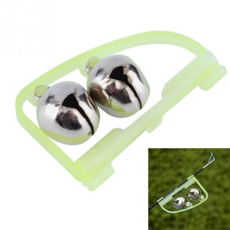 10pcs Green Fluorescent Fishing Rod Pole Tip Clip Twin Bell Alarm Alert Ring Glow In The Dark Fishing Tools(China)