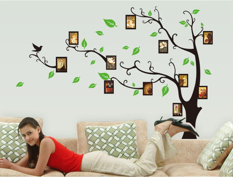 Photo Frame Family Tree Decal Wall Decals Wall Decor: Family Photo Frame Owl Birds Tree Wall Stickers Flower
