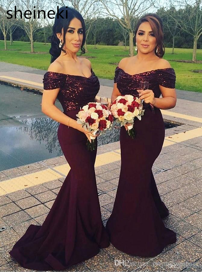 2018 South Africa Burgundy V Neck Long Bridesmaid Dresses Sparkling Sequins Top Ruffle Mermaid Formal Wedding Party Guest Dress