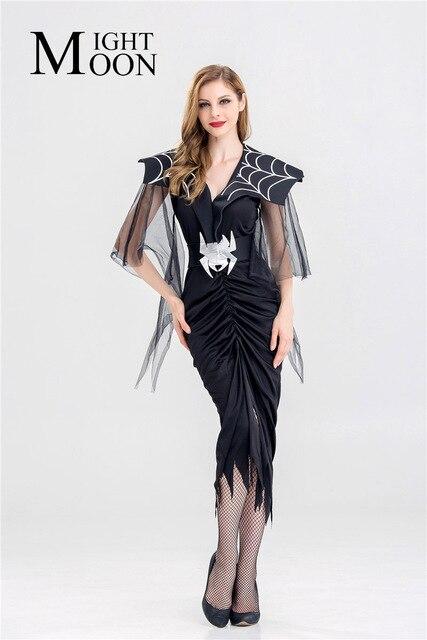 5c236cedd MOONIGHT carnaval Fiesta Vestidos largos mujeres negro araña Cosplay traje  Halloween traje de lujo
