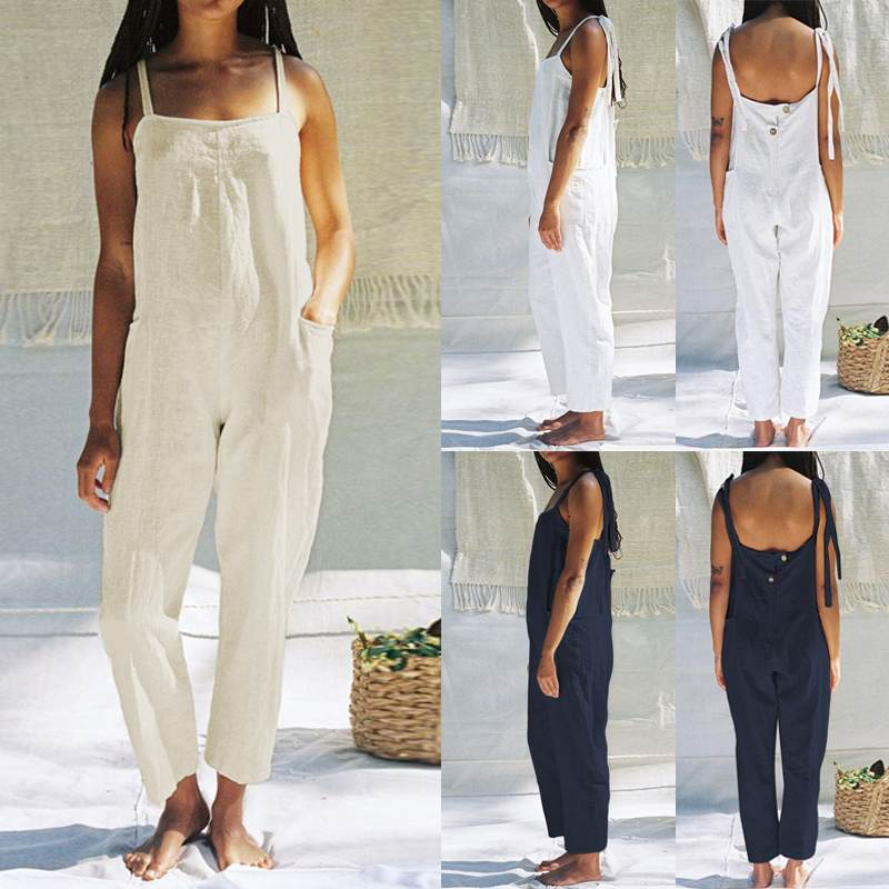 Plus Size S-5XL Celmia Women Vintage Cotton Long Wide Leg Pants Romper Strappy Dungaree Bib Overall Casual Loose Solid   Jumpsuits