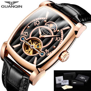 GUANQIN Brand Mens Mechanical Watches Luxury 2018 Tourbillon Skeleton Automatic Watch Rectangle Leather Gold Male Clock Man - DISCOUNT ITEM  48% OFF All Category