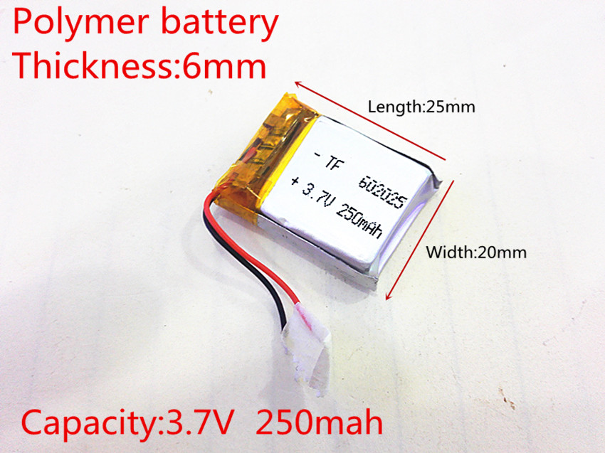 3.7V 250mAh 602025 Lithium Polymer Li-Po li ion Rechargeable Battery cells For Mp3 MP4 MP5 GPS PSP mobile bluetooth mother
