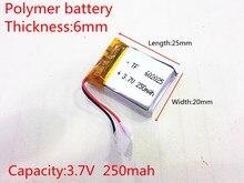 3.7V 250mAh 602025 Lithium polymère li po Li ion piles rechargeables pour Mp3 MP4 MP5 GPS PSP mobile bluetooth