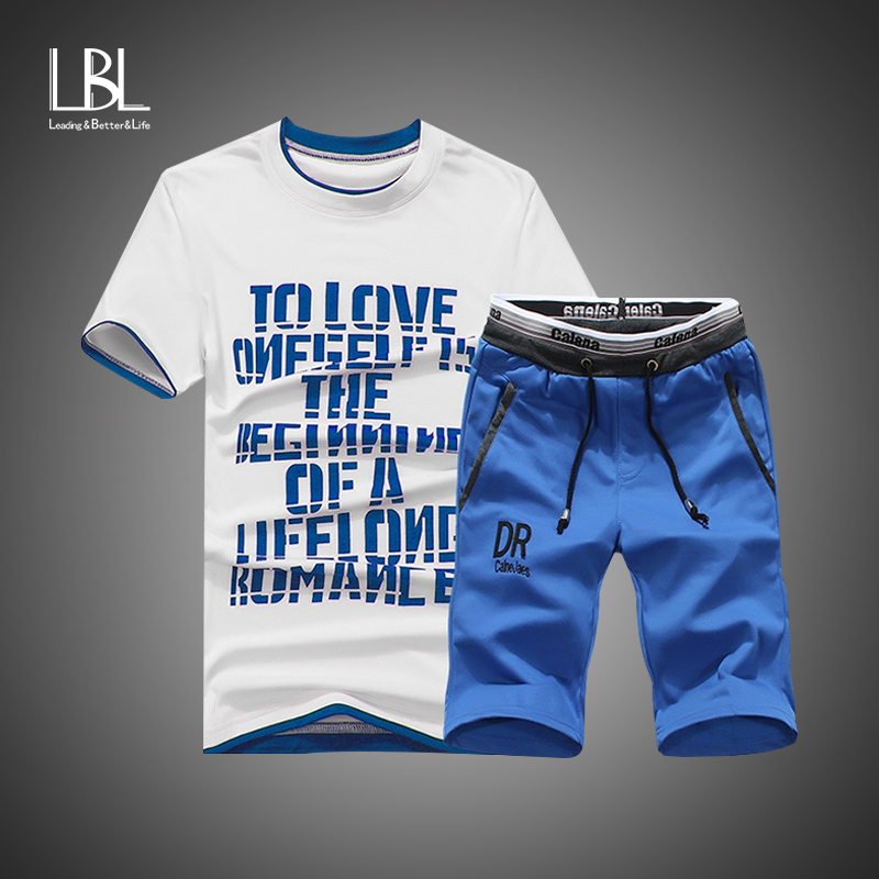 Summer Shorts Set Men Casual Outwear Slim Fit Mens Sweat Suits 2018 Casual T Shirts + Shorts Fashion 2PCS Men Sets