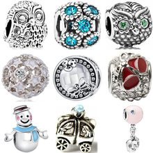 European Luxurious Bell Owl Car Snowman Dreamcather Elephant Heart Beads Fit Pandora Charms Bracelets for Women DIY Jewelry(China)