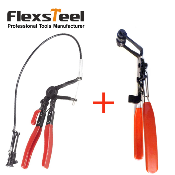 цена на Auto Vehicle Car Repairs Tools 45 Degree Angle Bent Nose Hose Clamp Pliers +Cable Type Flexible Wire Long Reach Hose Clip Pliers