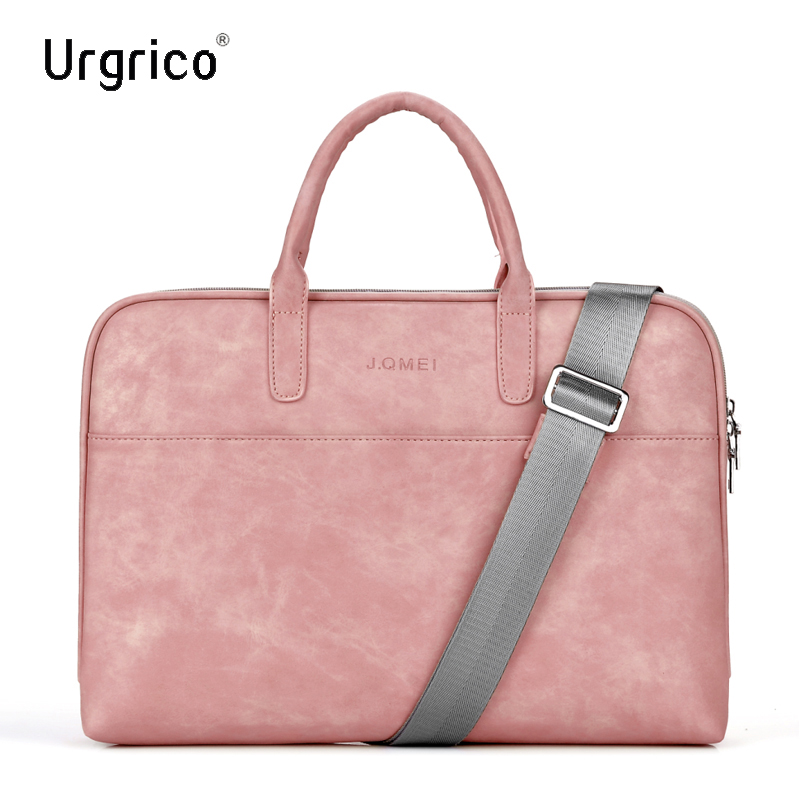 Urgrico Fashion PU Leather Laptop Bag For Women 14 15.6 17.3inch For Macbook Air 13 Inch Casual Portable Waterproof Notebook Bag