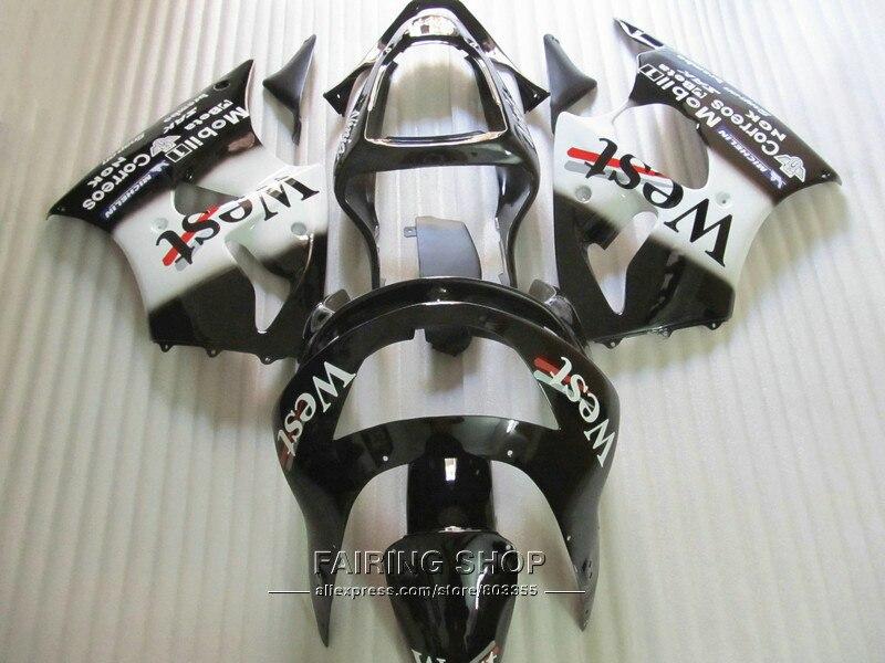 High quality fairings For Kawasaki ZX6R 1998 1999 98 99 white black ninja zx6r fairing kit OI23