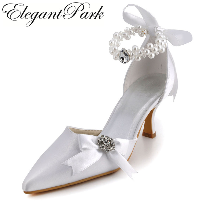 Woman Shoes Mid Heel ankle strap Lady Pumps Wedding Bridal Shoes Women Pointed toe heels A0509 White ivory esveva 2017 ankle strap high heel women pumps square heel pointed toe shoes woman wedding shoes genuine leather pumps size 34 39