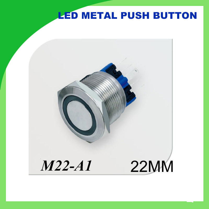 22mm 12V LED Push Button Metal Switch ON/OFF Car Boat DIY with illuminated power symbol,Waterproof ring illuminated 1NONC g126y 2pcs red led light 25 31mm spst 4pin on off boat rocker switch 16a 250v 20a 125v car dashboard home high quality cheaper