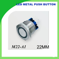 22mm 12V LED Push Button Metal Switch ON/OFF Car Boat DIY with illuminated power symbol,Waterproof ring illuminated 1NONC