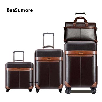 BeaSumore Men Business Rolling Luggage Set Spinner 24 inch Retro Wheel Suitcases 20 inch Cabin Trolley password Travel Bag