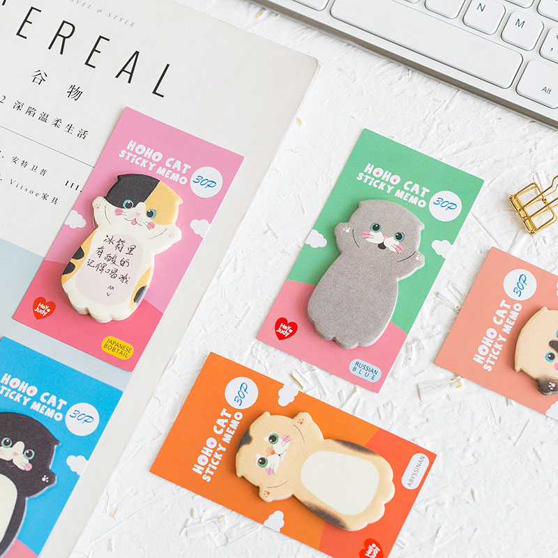 30Sheets/Lot Creative Sticky Notes Planner Stickers Pads Cute Baby Cat Memo Pads Set For Kids School Office Supplies Stationery
