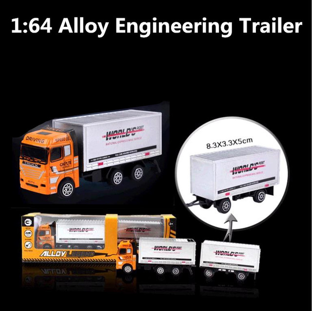 1:64 alloy truck models, high simulation trailer toy car, die-cast metal children's educational toys, free shipping