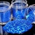 3 Tamaños Blue Diamond Shimmer Polvo Del Brillo Del Clavo Uñas Hexágono arte DIY Pequeña Hoja de Lentejuelas Escarcha Polvo Del Polvo en Claro Jar