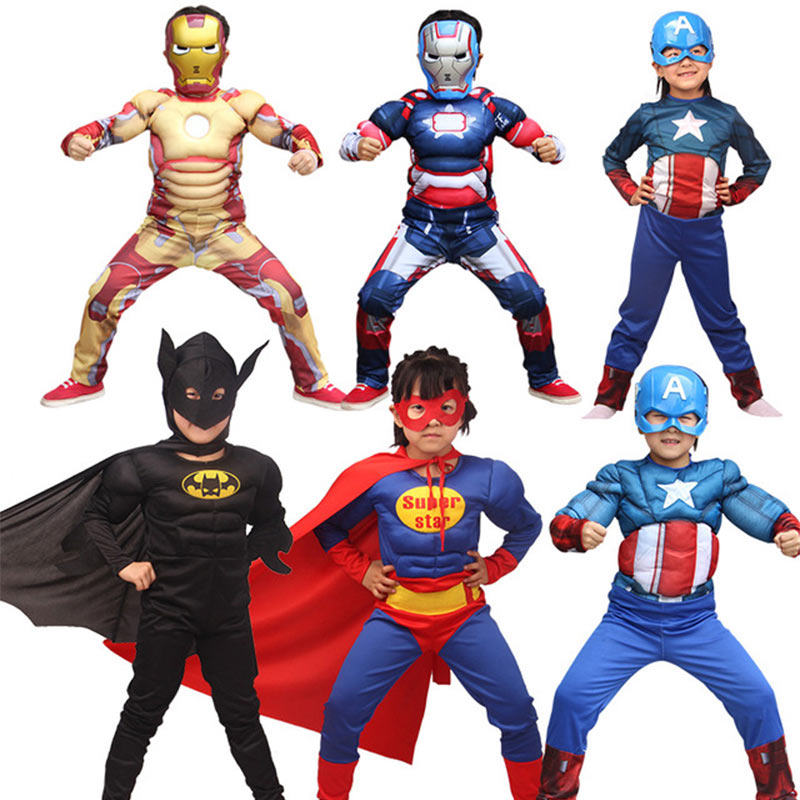 Kids Cosplay Costume Superman Spiderman Batman Superhero Cosplay Clothing Reality Boy Muscle Avengers Cos Clothes Cloak Mask